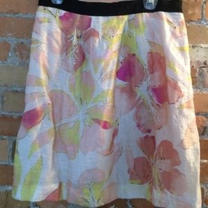 LOFT floral linen skirt water colors